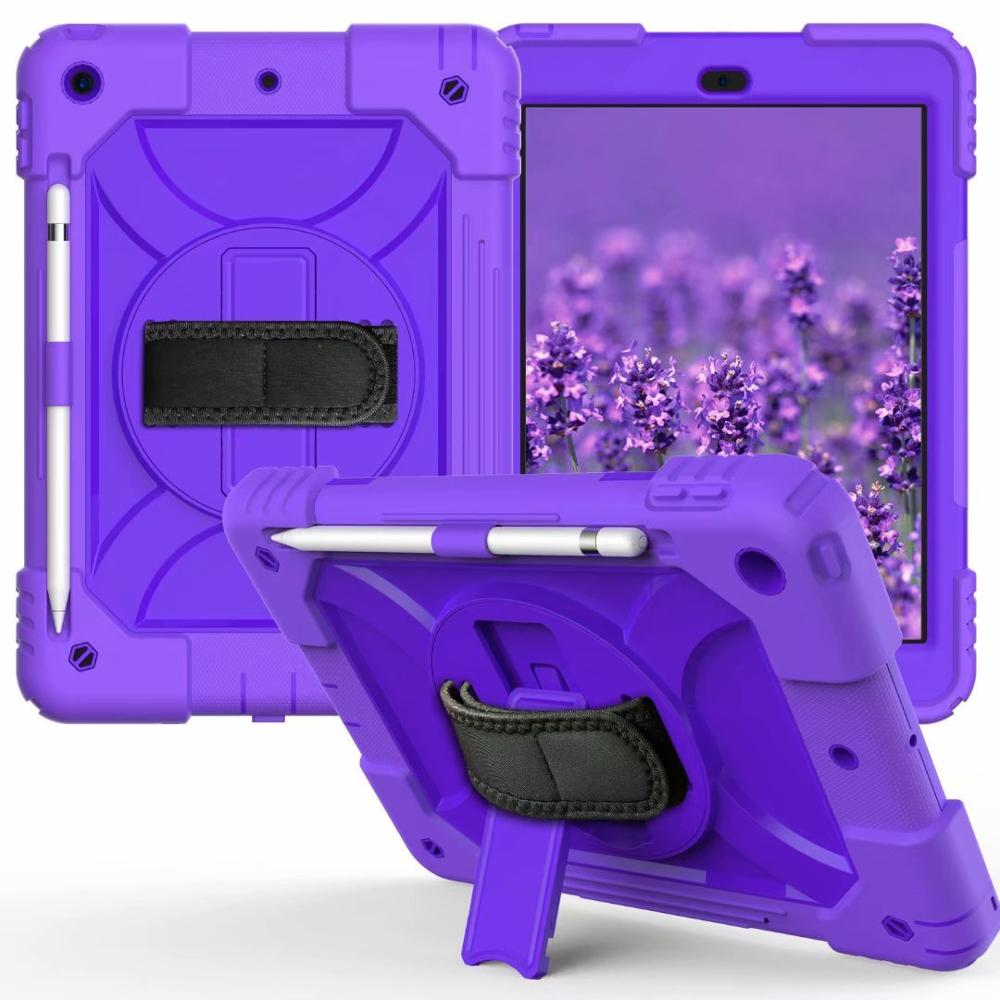 purple Ivory For iPad 7th Generation Case 360 Rotating Stand Hand Strap Pencil Holder Cover For iPad 10