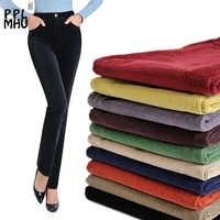 Nova moda outono e inverno veludo acolchoado calças de algodão estiramento grande tamanho solto calças retas calças casuais calças de cintura alta