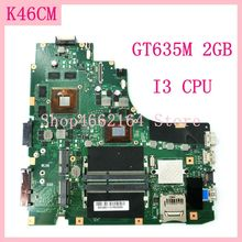 K46CM mainboard With I3 CPU GT635M 2GB K46CM laptop motherboard For ASUS A46C K46C K46CB K46CM Notebook mainboard 100%Tested OK