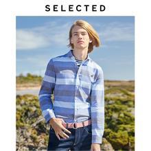 Wybrane 100% bawełny dopasowane w paski haftowana koszula z długimi rękawami L