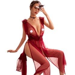 Plus Size Perspective Pajamas Women Nightgown Embroidery Flower Gauze Sleepwear Sexy Lingerie Transparent Side Split Tulle Dress