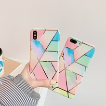 цена на Luxury Case For iPhone X Marble Phone Case For iPhone XR XS Max 6 6s 7 8 Plus Back Cover Soft TPU Geometric Electroplated Coque
