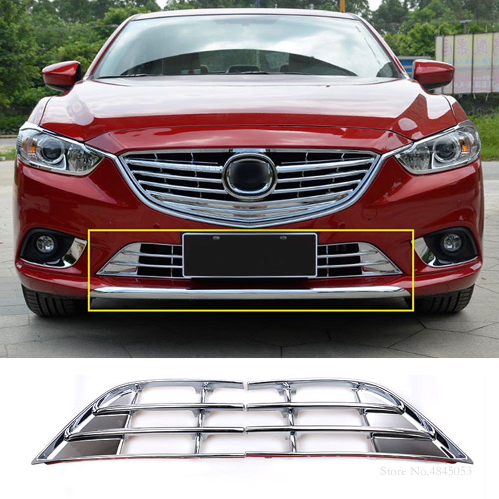 Car Chrome Front Grill Grille Cover Trim Fit For 2014 2015 Mazda 6 ATENZA M6