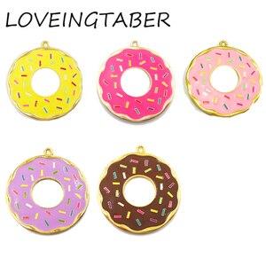 Image 1 - ( Choose Color First )  41mm 10pcs/lot Alloy Doughnut , Full Enamel Donut Pendants For Kids Jewelry Making