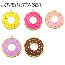 (Elija el Color primero) 41mm 10 unids/lote de aleación de Donut, esmalte completo Donut colgantes para la fabricación de joyas para niños