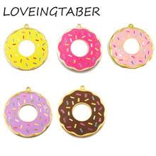 (Wählen Farbe Erste) 41mm 10 teile/los Legierung Donut, Volle Emaille Donut Anhänger Für Kinder Schmuck Machen