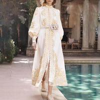 HAMALIEL New 2019 Designer Runway Women's Maxi Dress Fashion Autumn Chiffon Floral Print White Single Breasted Long Dress Vintage Stand Collar Holiday Split Belt Vestidos