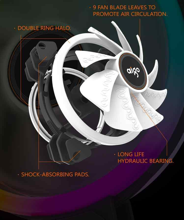 Aigo DR12 Dubbele Rgb Aura Pc Fan 12V 4 Pin 120Mm Koelventilator Voor Computer Stille Gaming Case cooler Fan Met Controller Am3 Am4