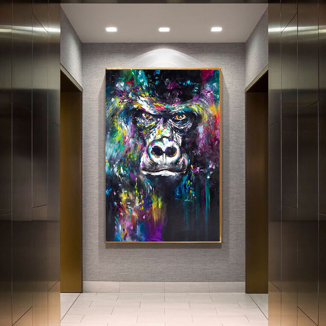 Abstract Colorful Oil Canvas Painting Monkey Wall Art Posters and Prints Aniaml Wall Decor Picture for Living Room Home Design