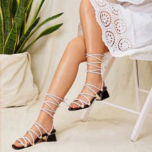 2020 Women Hemp Cross Tie Sandals Gladiator Ladies Summer Narrow Band Female Chunky Heel Women's Lace Up Square Toe Shoes(China)