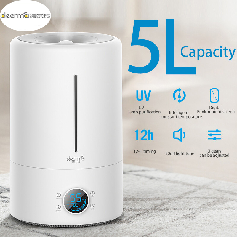 Original Xiaomi Home Deerma 5L Large Capacity Household Mute Air Humidifier Ultrasonic Air Humidifier Purifying Humidifier Aroma