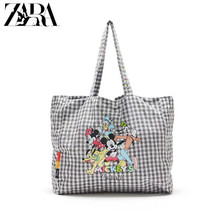 Disney's new female handbag large-capacity Mickey Minnie mouse printed shoulder shopping bag