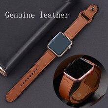 Ремешок из натуральной кожи для apple watch band, браслет для iwatch 44 мм 40 мм series se 6 5 4 3 2 1, 42 мм 38 мм
