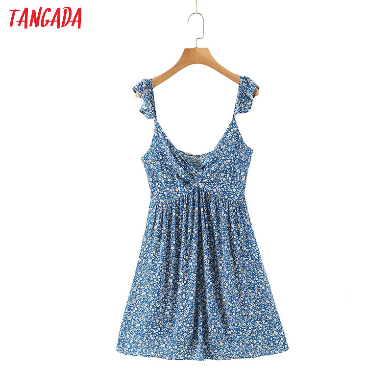 Tangada Women Floral Print Beach Dress Strap Sleeveless Backless Females Mini Dresses Vestidos  SL247