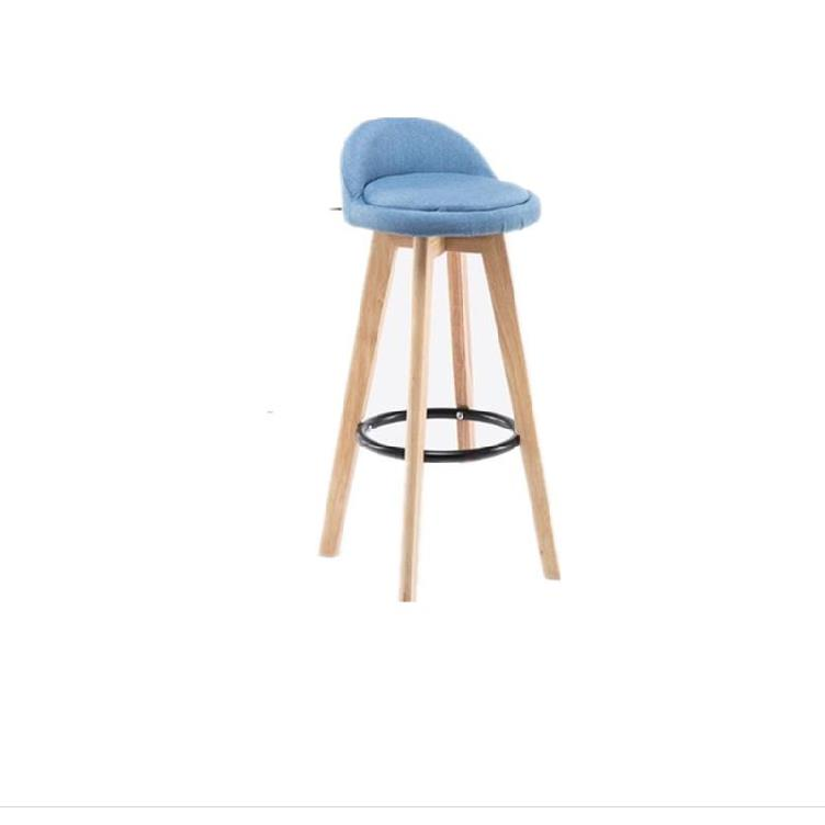 Solid Wood Bar Chair Modern Minimalist Bar Chair High Stool Backrest Bar Stool Front Desk Cashier Rotating Creative Bar Stool