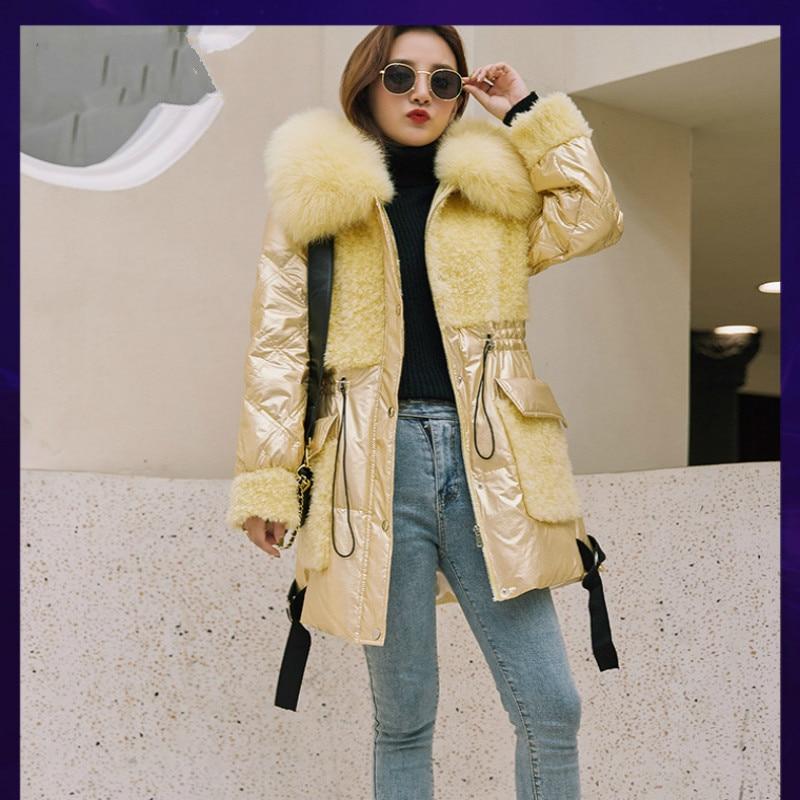 Tcyeel Natural Fur Coat Female Kroean Down Jacket 2020 Winter Jacket Fox Fur Hooed Women Real Wool Coat Jacket Women Outwear AL2