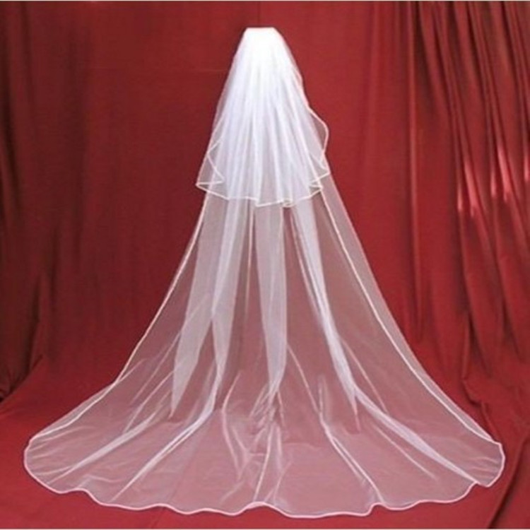 3m Light Net Copy Side Double Layer With Comb 2 Layer With Comb Edging Ribbon Wedding Veil Long Veil