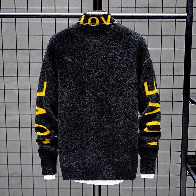 Suéter de cachemir para hombre, suéteres gruesos y cálidos de Navidad, jersey de cuello alto, moda de punto, novedad de invierno de 2020 4