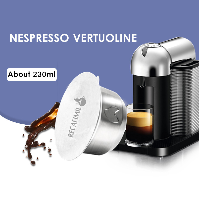 Upgraded 230ml Stainless Coffee Filters For Nespresso Vertuoline GCA1 & Delonghi ENV135 Coffee Capsule Pod With Aluminum Lids