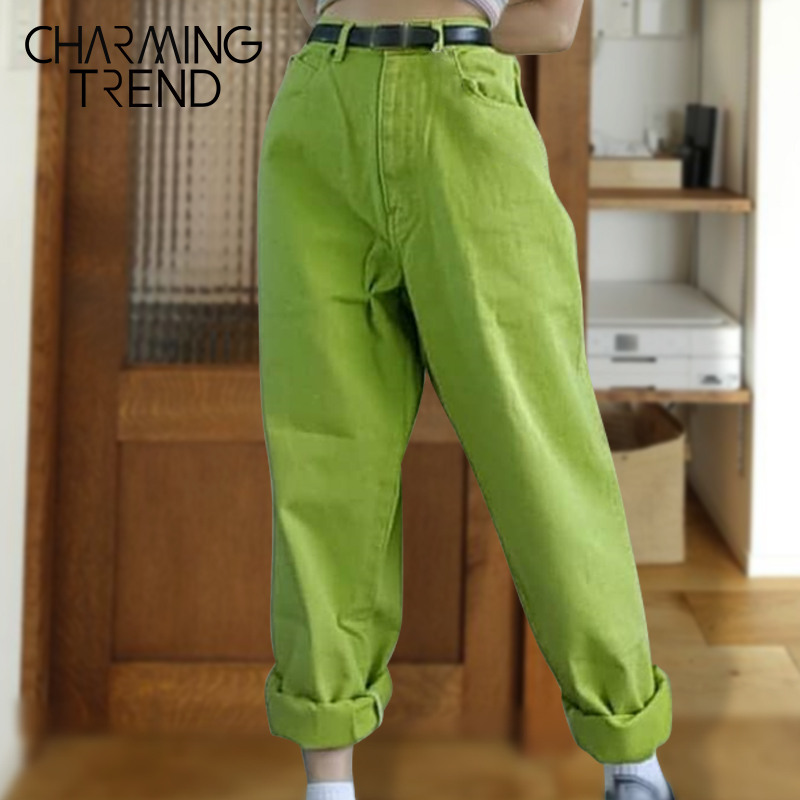 Women Jeans Pants High Waist Candy Long Pants For Girls 2020 New Spring Summer Vintage Casual Female Ladies Women Trousers