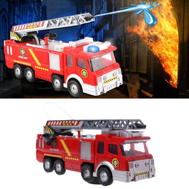 Spray de água caminhão brinquedo bombeiro caminhão de bombeiros carro música luz brinquedos educativos para o menino crianças cenário brinquedo como presente
