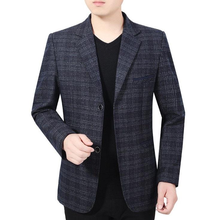 New Men's Lattice Suit Jackets Spring Autumn Slim Fit Suit Blazer  Stylish Formal England Suit Jackets Male Casual Blazers