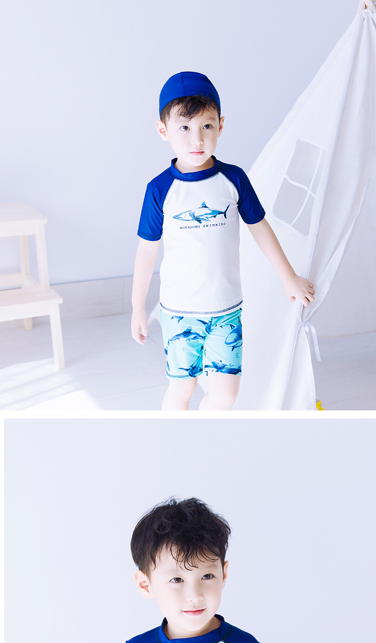 New Korean-style Shark Children Split Type Swimming Suit BOY'S Sun-resistant Split Type Cartoon Set Surf Wear Fashion With Swim