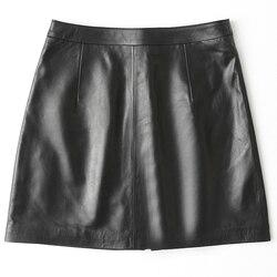 Echt Schaffell Plus Größe Frauen Echtes Leder Rock Frühling Herbst Schwarz Mini Rock Koreanische Faldas Mujer Moda 2020 LWL1599