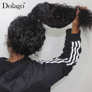 Dolago Wig Human-Hair-Wigs Lace-Frontal Fake Scalp Curly Transparent Deep-Wave 360