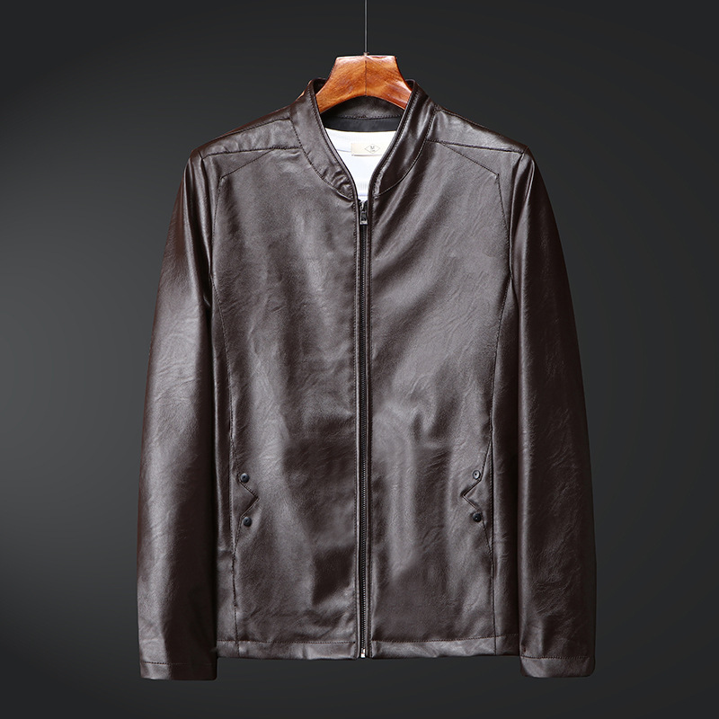 Factory Sales Autumn Leather Coat MEN'S Outerwear Korean-style Slim Fit Baseball Collar PU Leather Jacket Men's Middle-aged Casu