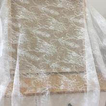 1 Yard Clear Sequin Chantilly Bridal Lace Fabric in Off White , Wedding Gown Lining Fabric, Cape Overlay by