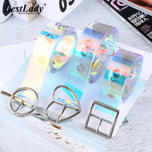 Best lady Shiny Transparent Rainbow Belt for Women Unique Female Belly Chain Pin Buckle Bohemian Wedding Belts Statement Gifts