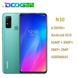 Doogee N30 Android 10 Мобильный телефон 6,55 дюймHD + экран смартфон 4180 мАч 16MP Quad задние камеры Full Netcom MT6762V 4 Гб 128 ГБ
