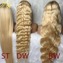 Человеческие волосы Remy 150%, кружевные передние парики, предварительно выбранные прямые кружевные передние парики #613, кружевные парики с глу...