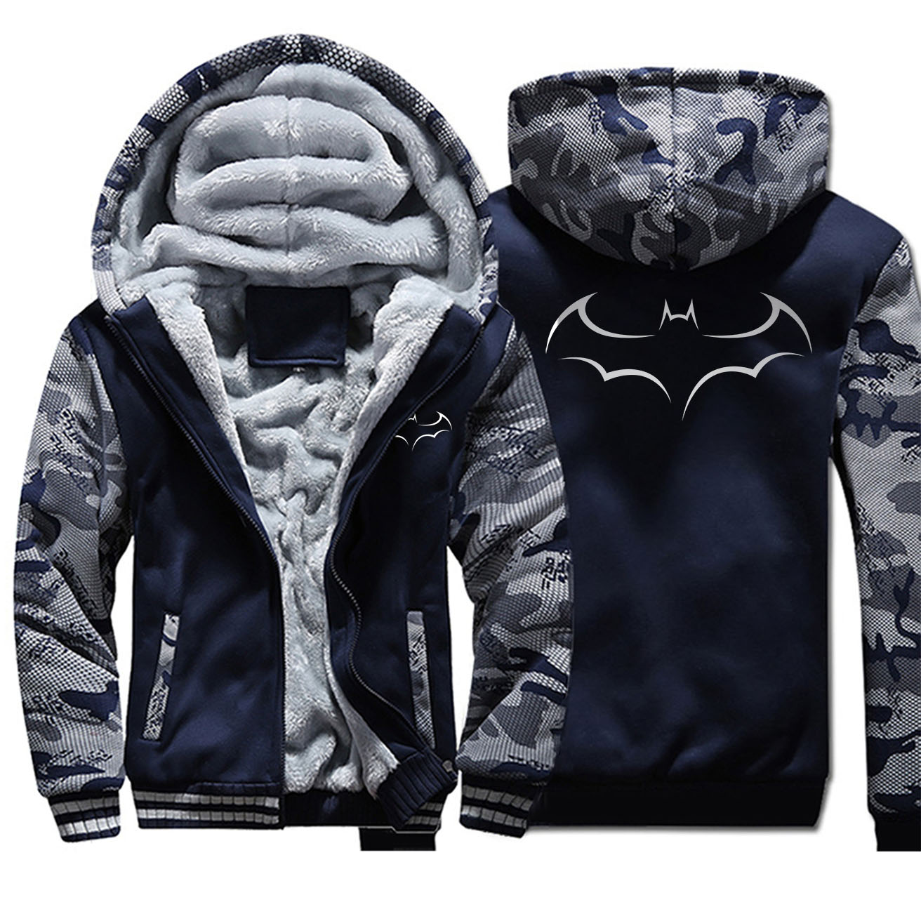 Batman Bruce Wayne Jackets Men Hoodies Superhero Sweatshirts Winter Thick Feece Zipper Coats Sportswear Camo Superhero Plus Size