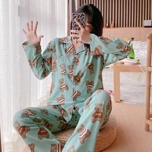 Long Sleeve Sleepwear Loose Female Mujer V-neck Pyjamas Cute Bear Printed Pajamas For