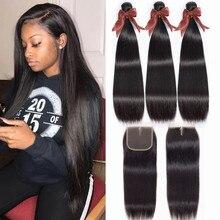 Bling hair 4x4 chiusura in pizzo e fasci fasci di capelli lisci con chiusura peruviano 100% Remy estensione dei capelli umani colore naturale