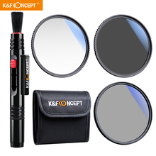 K&F Concept UV+CPL+ND4 Slim Lens Filter kit for Nik Canon Sony all 82mm DSLR Camera Lens with Filter Pouch and Lens cleaning pen