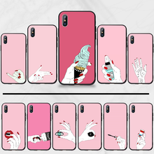 Fashion red nail Pink Hands TPU Soft Silicone Phone Case Cover For iphone 5 5s 5c se 6 6s 7 8 plus x xs xr 11 pro max(China)
