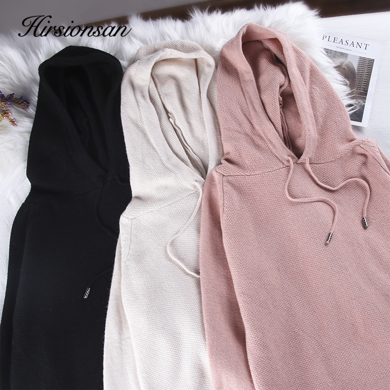 Hirsionsan Casual  Knitted Pullover Women Autumn Winter Warm Jumper Chic Solid Long Sleeve Loose Basic Korean Female Sweater Top