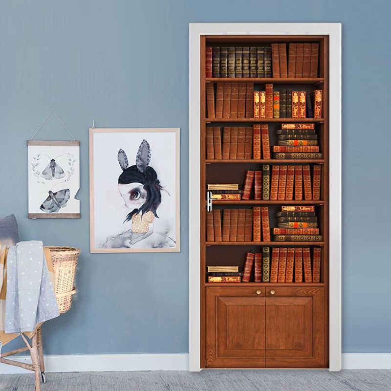 3D Vintage regał DIY samoprzylepne naklejki drzwi tapety salon sypialnia naklejka na ścianę i drzwi naklejki ścienne do wystroju domu