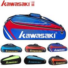 Сумка для бадминтона Kawasaki, водонепроницаемая сумка на одно плечо для сквоша, теннисные ракетки, спортивные сумки, можно держать 3 ракетки с о...
