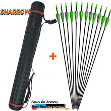 12 PCS Archery Glassfiber Rubber Feather Arrow Replaceable Arrowhead Length  Recurve Bow Childrens Basic Training Hunting