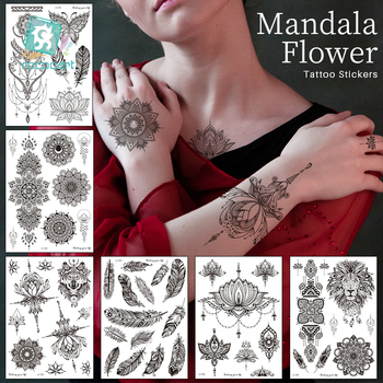 1 Sheet Mandala Big Black Flower Tattoos On Hand Arms Finger Decoration Fake Body Art Tattoo For Female Girls Party Gift Sticker