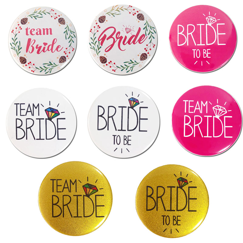 Wedding Party Accessory Team Bride Badge Bride To Be Brooch Bachelorette Hen Night Party Supplies