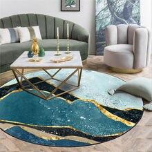 Ковры для гостиной, абстрактный Синий Зеленый пейзаж, круглый ковер для спальни, гостиной, аксессуары для стола