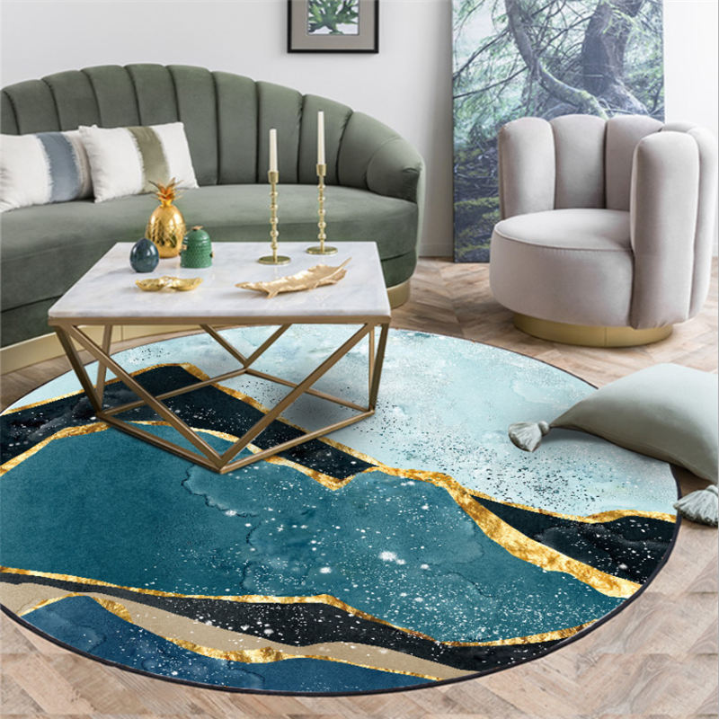 Carpets For Living Room Abstract Blue Green Landscape Pattern Round Carpet Area Rug For Bedroom Living Room Table Accessories