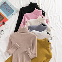 Knit Sweater Women Turtleneck Casual Pure Cashmere Pullover Autumn Winter Solid Long Sleeve Slim-jumper Soft Tops Pull Femme button turtleneck soft sweater women fall winter solid knitted autumn winter pullover slim jumper female knit long sleeve tops
