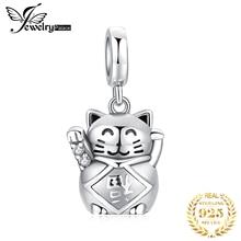 JewelryPalace Glückliche Katze 925 Sterling Silber Perlen Charms Silber 925 Original Für Armband Silber 925 original Für Schmuck Machen