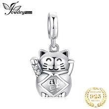 JewelryPalace kot na szczęście 925 srebro wisiorki z koralikami srebro 925 oryginał na bransoletkę srebro 925 oryginał do tworzenia biżuterii